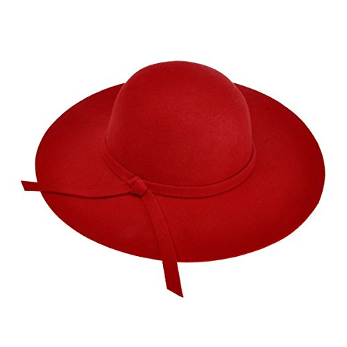 ZLYC Women Winter Wool Felt Wide Brim Fedora Hat Bowler Floppy Cloche Cap, Red