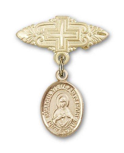 Icecarats Or Bijoux De Créateurs Rempli Cœur Immaculé De La Broche Mary Badge De Charme Avec Une Croix X 3/4