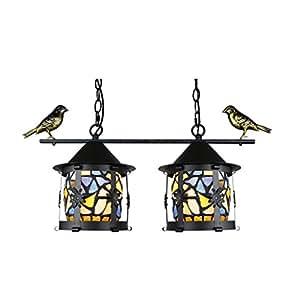 MILUCE Double Head Small Bird Chandelier Creative Glass Small Chandelier Balcony Aisle E27 Home Decorative Lights L55 H30cm ( Color : D )