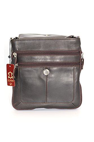 Bags Bag Brown Cross Hand Shoulder Genuine Body Leather vwnz7