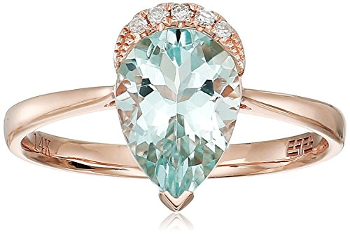 Effy Womens 14K Rose Gold Aquamarine Ring, Blue, 7