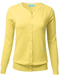 FLORIA Women Button Down Crew Neck Long Sleeve Soft Knit...