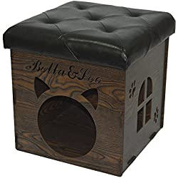 "Fsobellaleo Faux Leather Wood Home Stool Removable Storage Ottoman Cat Dog House Multifunctional Chair Creative Pet Nest Black 15.8""x15.8""x15.8"""