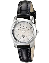 TIMEX Womens T2N4359J Silver-Tone Watch with Black Leather Band