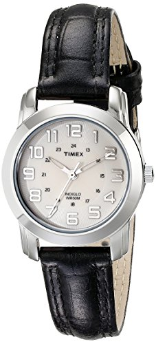 (TIMEX Women's T2N4359J Silver-Tone Watch with Black Leather Band)