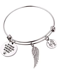 """Pet Memorial Gift Loss of Pet Bracelet """"No longer by my side but forever in my heart"""""""