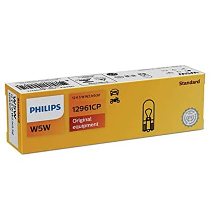 10x PHILIPS Kugellampe Stecksockellampe W5W VISION 12V 5W W2.1x9.5d 12961CP