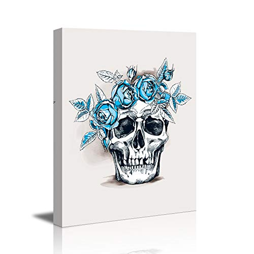 Abstract Skull Blue Flowers Bedroom Decor Canvas Wall Art Gallery Canvas Prints Home Decor Pictures Waterproof giclee Print Oil Paintings for Bedroom 12