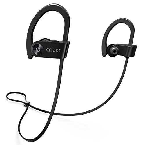 Criacr Bluetooth Headphones, Wireless Sports Earphone with Hi-Fi Stereo Sound, 9 Hrs Playing Noise Cancelling Headsets, Built-in Microphone, IPX7 Waterproof & Sweatproof Earbuds for Running Exercising