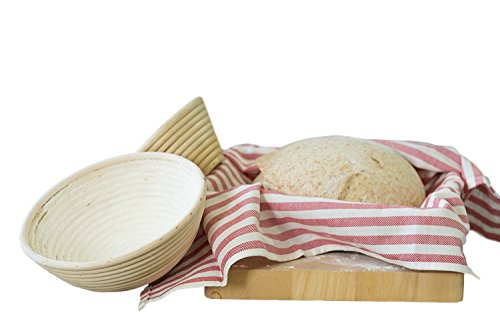 Chef Cicero - Banneton Proofing Basket - Large (9 Inch) & Round Rising Rattan Liner Brotform - Perfect For Artisan Bread Dough - Handmade Wood Bowl by Chef Cicero