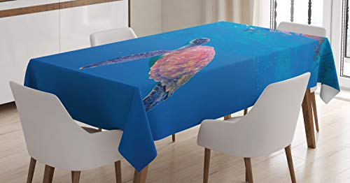 Lunarable Sea Turtle Tablecloth, Wild Nature Underwater Photo with Amazing Amphibian Animal, Dining Room Kitchen Rectangular Table Cover, 52 W X 70 L Inches, Sea Blue Pale Ruby Lavender Blue