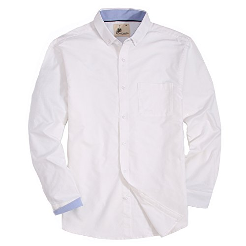 Mens Dress Shirts Oxford Long Sleeve Washed Casual Button Down Shirt (White,Small) (Fit Pinpoint Shirt Dress)