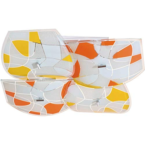 DeMarkt flush ceiling light metal white glass yellow orange modern kitchen dining room 8x60W E27 230V excl [Energy Class A]