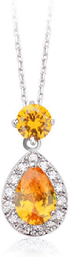 Niaofeces Colgantes Plata 925 Collar De Piedras Preciosas En Forma De Gota De Agua para Mujer Esmeralda Zafiro Citrino Polvo Cristal Citas Fiesta-Amarillo