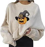 DonLeeving Print Sweatshirts for Women Halloween Print Sweater Pumpkin Long Sleeve Crewneck Pullover Tops