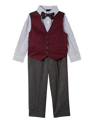 Nautica Boys' Baby 4-Piece Formal Dresswear Vest Set with Bow Tie, Black Checkers, 24 Months
