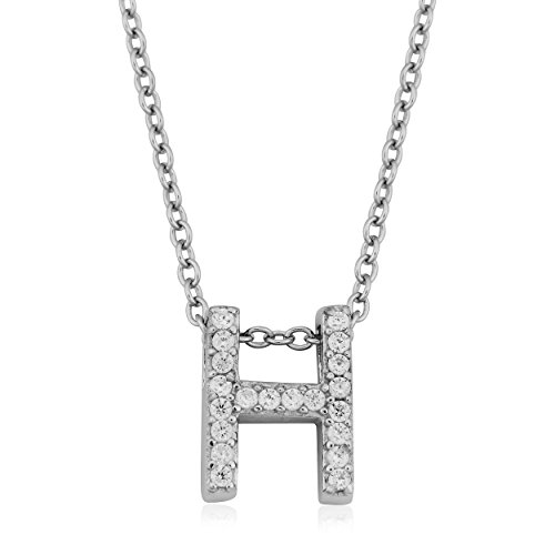 Sterling Silver and Cubic Zirconia Letter H Initial Necklace (18 inch)