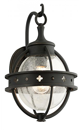 Troy Lighting Mendocino 1-Light Outdoor Wall Lantern - Forged Black Finish with Clear Seeded Glass (Black Forged Table Lamp)