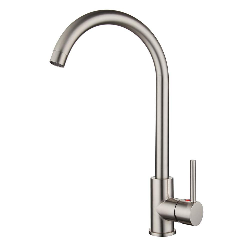 High Arch Kitchen Faucet Brushed Nickel,360 Degree Swivel Spout Kitchen Sink Faucet Hot and Cold Water Mixer, Modern Lead-Free Commercial Bar Sink Faucet fit for 1 hole Single Handle Faucet Anti-Rust