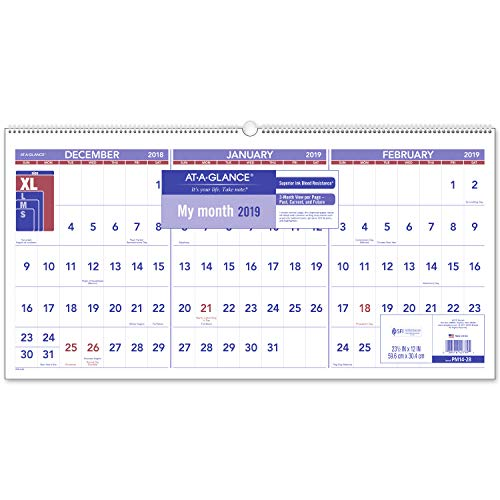 - AT-A-GLANCE 2019 Wall Calendar, 3-Month Display, 23-1/2