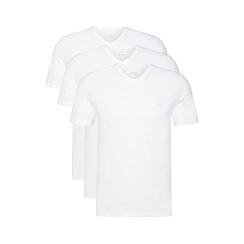 BOSS Hugo 3er Pack V Neck V Ausschnitt T Shirts weiss schwarz graumeliert Vorteilspack
