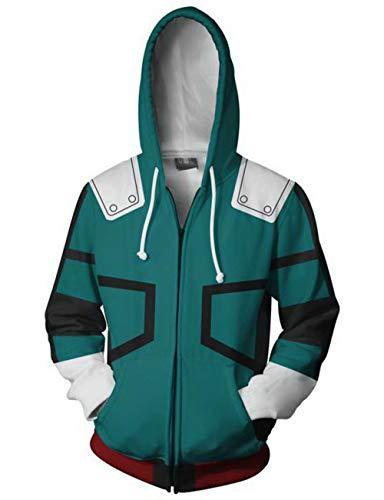 DAIKEN My Hero Academia Cosplay 3D Printed Hoodies Zipper Hooded Sweatshirt Jacket(Green,M)