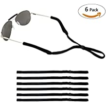 ONME Adjustable Eyewear Retainer, Universal Fit Rope Eyewear Retainer, Sport Unisex Sunglass Retainer Holder Strap, Set of 6 (Black)