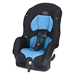 The Evenflo Tribute LX Convertible Car Seat holds a rear-facing infant from 5 - 30 lbs. (height: 19 - 37 inches) and a forward-facing toddler from 22 - 40 lbs. (height: 28 - 40 inches). The Evenflo Tribute LX Convertible Car Seat meets or exc...