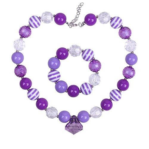 ICObuty Chunky Bubblegum Necklace and Bracelet Set for Kids Girls (Purple)