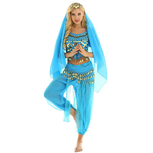 (inlzdz Women's Belly Dancing Fancy Dress Halloween Carnival India Dance Performance Costume Outfit Lake Blue One)