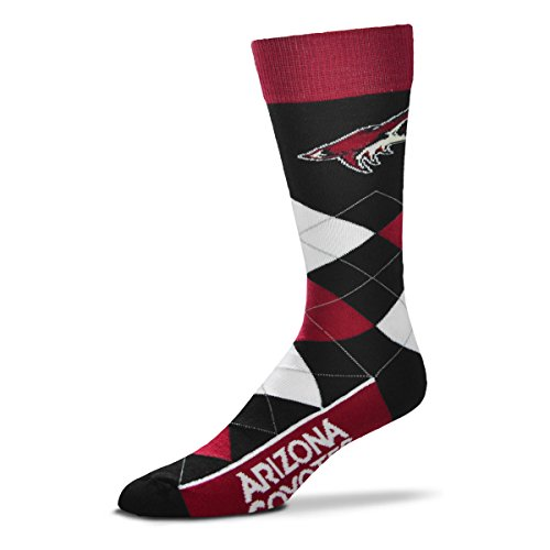For Bare Feet NHL Argyle Lineup Unisex Crew Dress Socks-One Size Fits Most-Arizona Coyotes