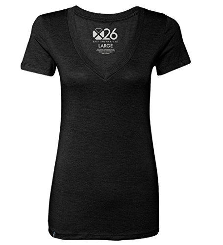 EXIT 26 Women's Tri-Blend Soft Wash Jersey Deep V Neck Everyday Plain and Heather T-Shirts