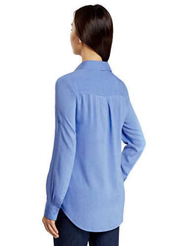 Bleu Femme oodji 7501n Poches Ultra Viscose avec Basique Chemisier en F4O4qU