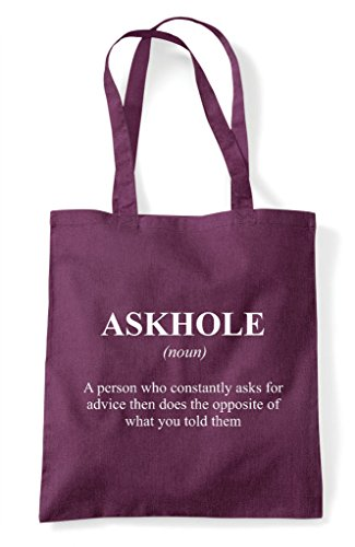 Askhole Shopper Bag The Not Tote Alternative Plum Definition Dictionary In Funny qRcqTUO
