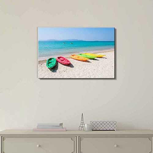 Colorful Kayak Boat on Tropical Beach of Thailand Home Deoration Wall Decor