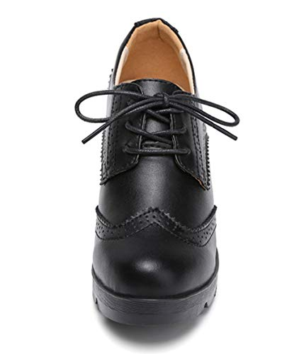 DADAWEN Women's Leather Classic Lace Up Platform Chunky Mid-Heel Square Toe Oxfords Dress Pump Shoes