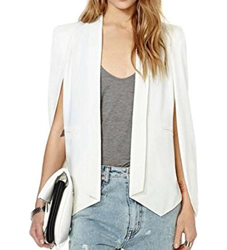 Cruiize Women's Chiffon Draped Irreguolar Pad Blazer Jacket Coat White Large (Peaches Uniforms Uniform Double Breasted)