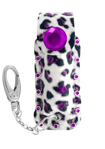 Pepper Spray_'DIVA Style'Choose from 5 Deluxe Designer Holster Colors with Key Chain_Best Personal Self-Defense Protection for Women & Loved Ones_Strongest-Hottest-Most Effective 17% Police Strength Product_Be Protected_1 Yr Guarantee BUY TODAY! (Purple Cheetah) (Pepper Designer Spray)