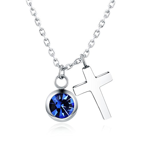 Vinjewelry Crystal Birthstone and Cross Pendant Necklace Girls Best Gifts for Birthday,Christmas,First Communion (September Birthstone - Sapphire)