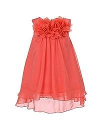 Beautiful Mesh Flower Chiffon A-Line Dress - Little Girls Coral - Size 6