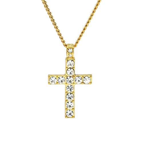 (Thenxin Women Cross Pendant Bling Rhinestone Crystal Sweater Chain Long Necklace Fashion Jewelry (Gold))
