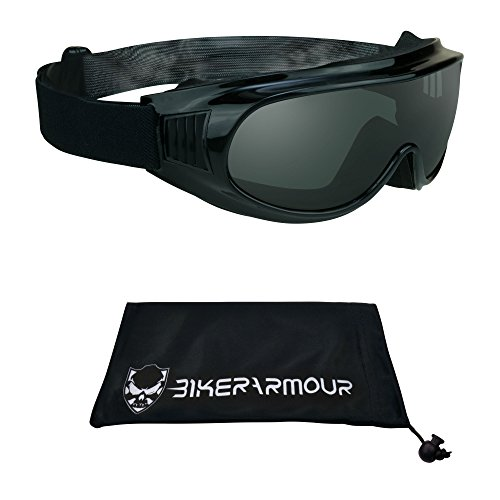 Motorcycle Riding Cover Over Goggles with Polycarbonate Smoke Lens for Men and Women with XLarge Microfiber Cleaning Case Thunder Fit Over Goggles