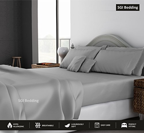 KING SIZE SHEETS LUXURY SOFT 100% EGYPTIAN COTTON - Sheet Set for King Mattress Silver Gray SOLID 15