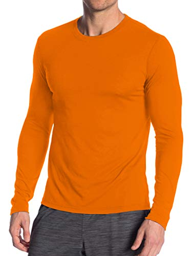 Neon Wicking Underscrub Sport T Shirt - Mens Athletic High Visbility Adult Long Sleeves Orange Shirt (XXL)