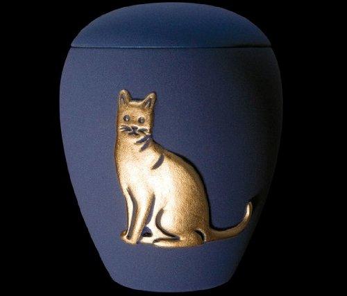 Kronos - Urne cinéraire couleur blue en céramique à motif de chat - Dim : Cm 8, 5 x h Cm 11, 5; Vol. lt 0, 5