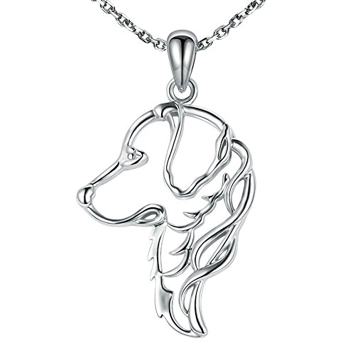 - MANBU 925 Sterling Silver Charm Unique Golden Retriever Greyhound Dog Pendant Necklace Animal Pet for Women or Girls