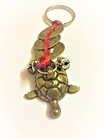 SSDG Fengshui Red Chinese Knot 3 Coins With Turtle(KACHUA) Key Ring/key chain/Tassel Bring the 3 Heavenly Blessings to your - Money Turtle