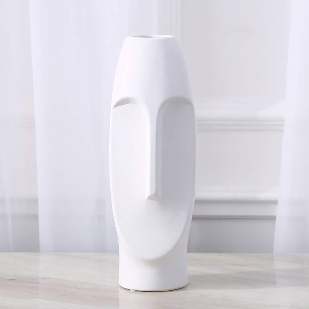 HBJP ホーム磁器クリエイティブ花瓶シンプルモダンドライフラワーアレンジメント花瓶装飾 花瓶 (色 : 白) B07SBYWW43 白