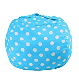 ROPODA Kids Stuffed Animal Storage Bean Bag Cover-100% Cotton Canvas Storage Bag Perfect Storage Solution for Toys, Clothes,Covers or Blankets (30' ,Blue/White Polka Dots)