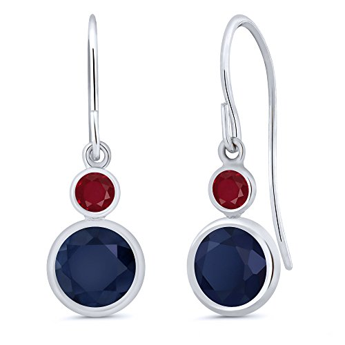 - Gem Stone King 2.28 Ct Round Blue Sapphire Red Ruby 14K White Gold Earrings
